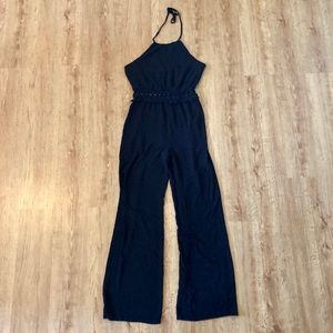 Black Jumpsuit Flower Cutout Exposed Waist
